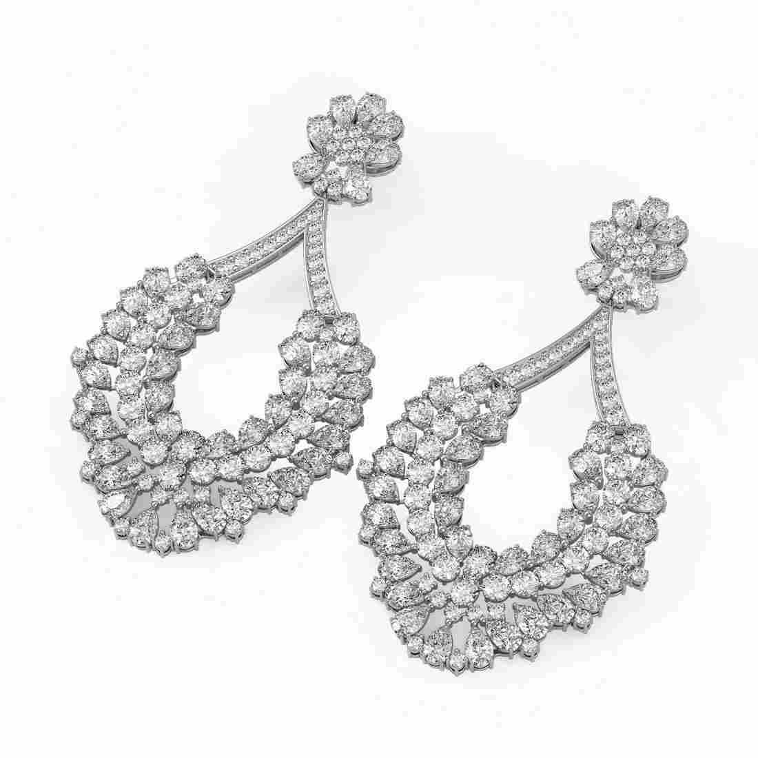 58 ctw Pear Cut Diamond Designer Earrings 18K White