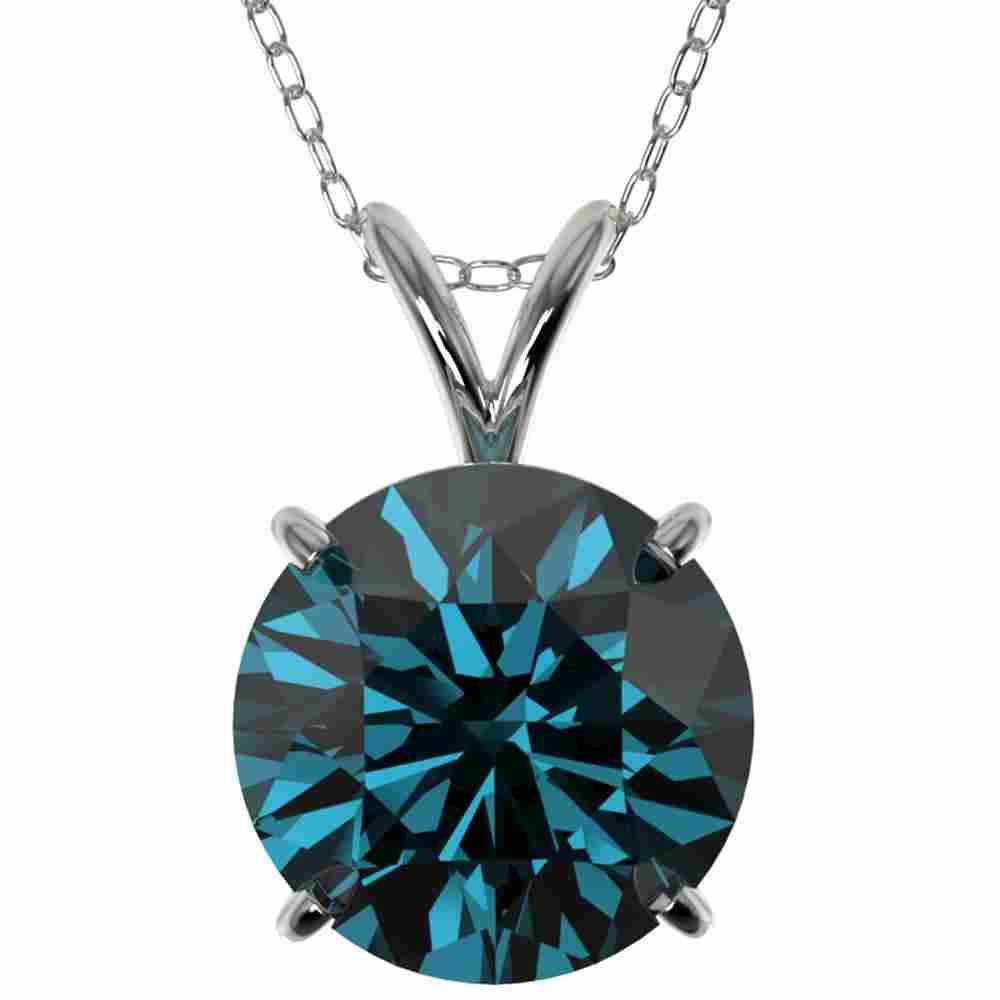 2.50 ctw Certified Fancy Blue Diamond Necklace 10K