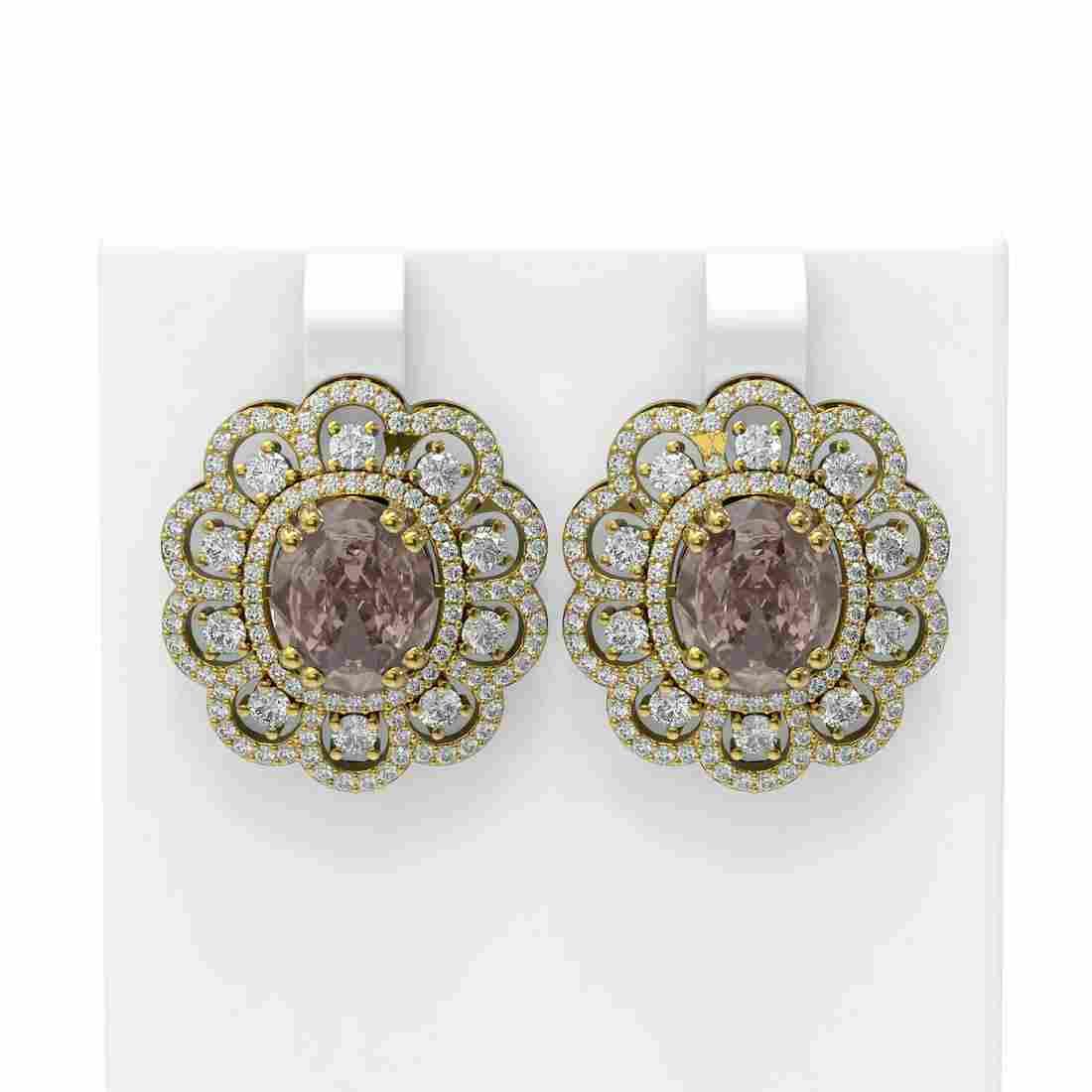 11.61 ctw Morganite & Diamond Earrings 18K Yellow Gold