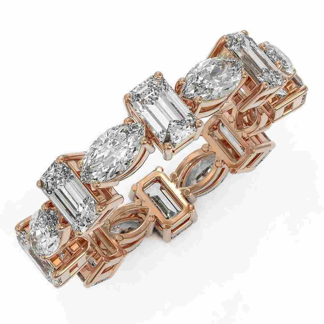 4.16 ctw Emerald Cut Diamond Eternity Ring 18K Rose