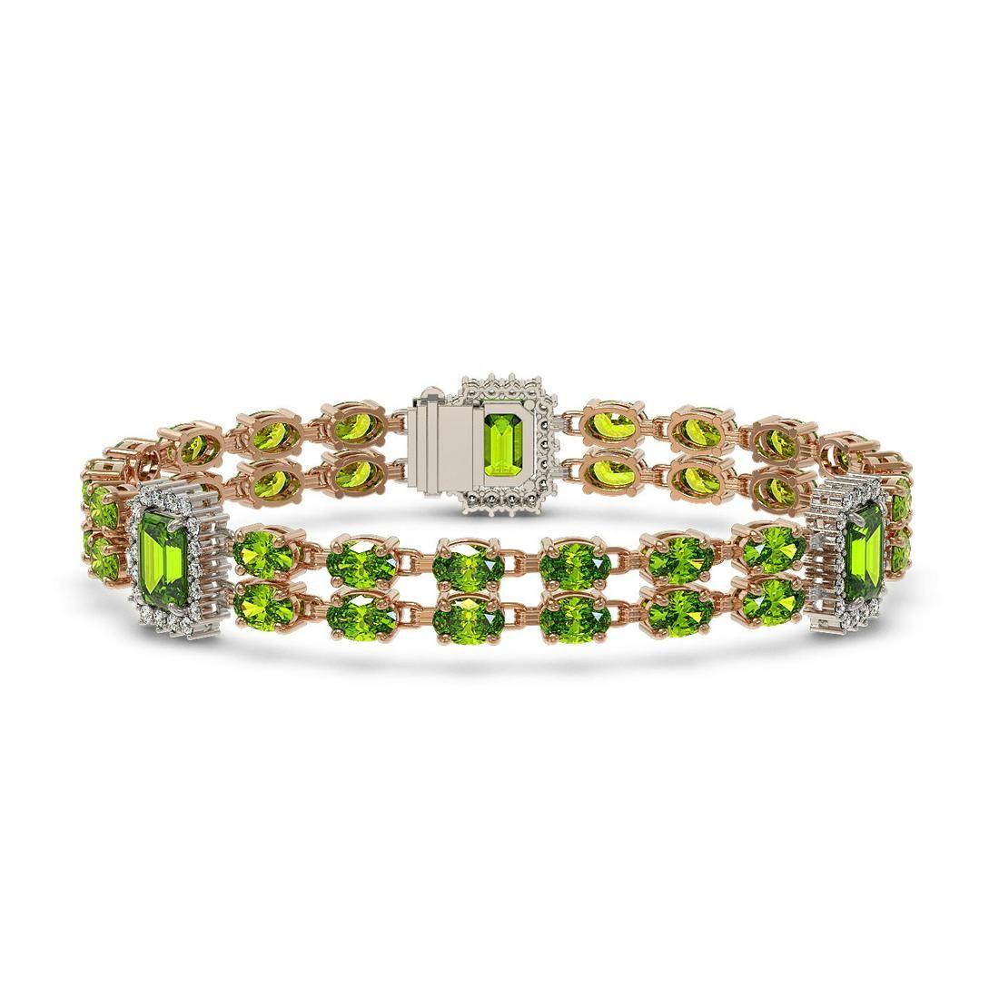 27.5 ctw Peridot & Diamond Bracelet 14K Rose Gold -