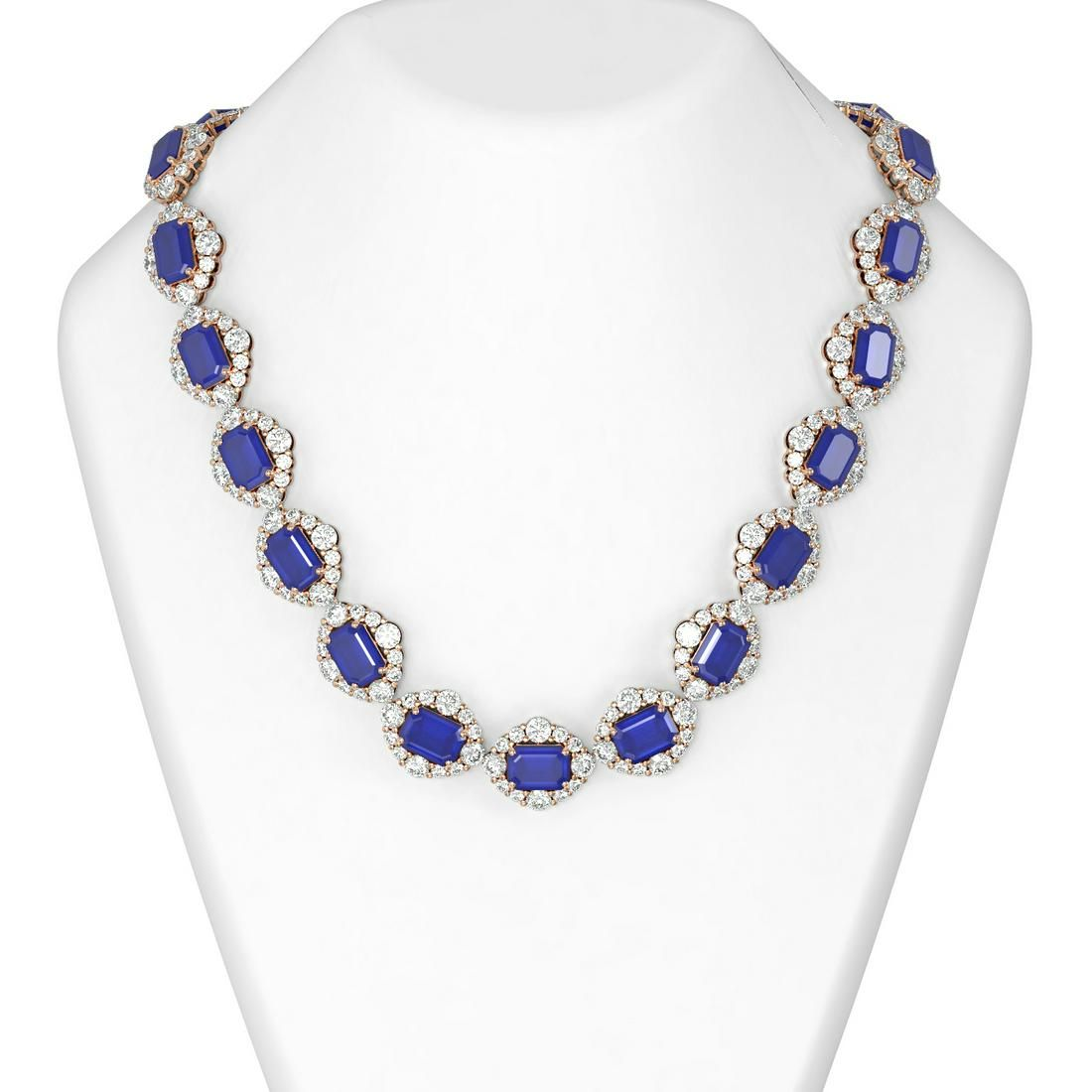 185.36 ctw Sapphire & Diamond Necklace 18K Rose Gold -
