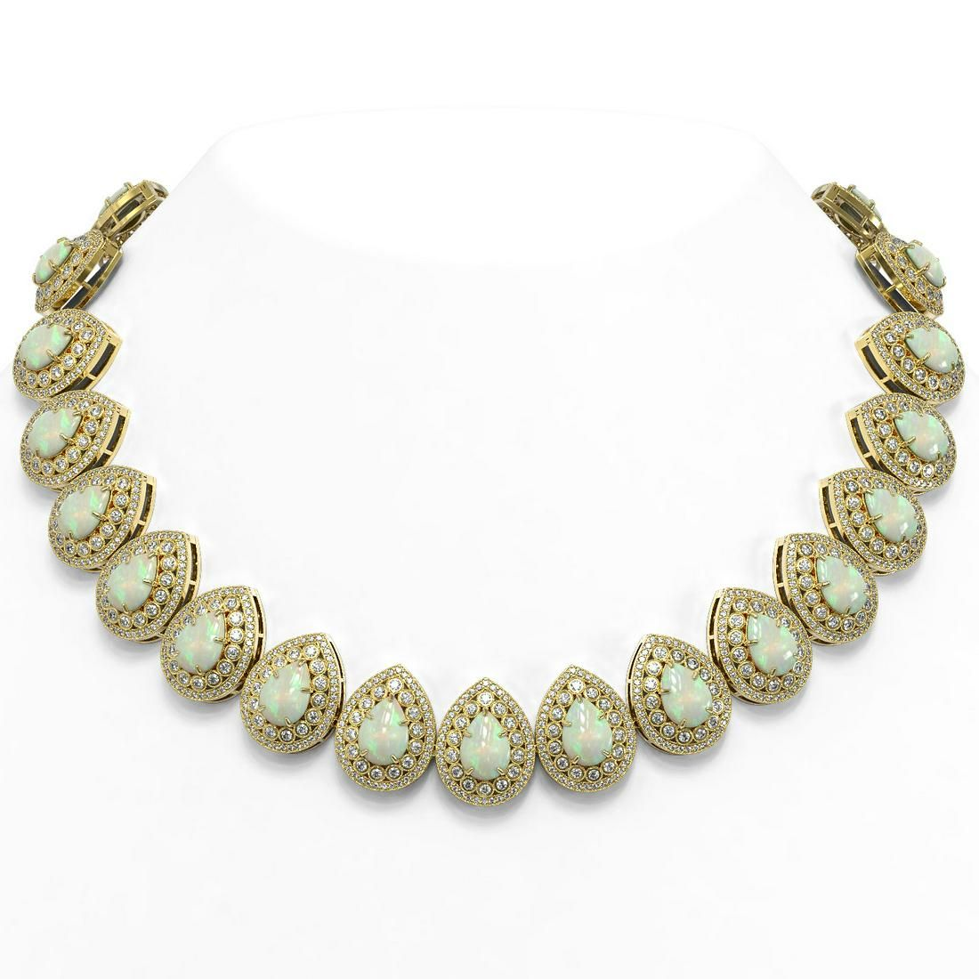 100.62 ctw Certified Opal & Diamond Victorian Necklace
