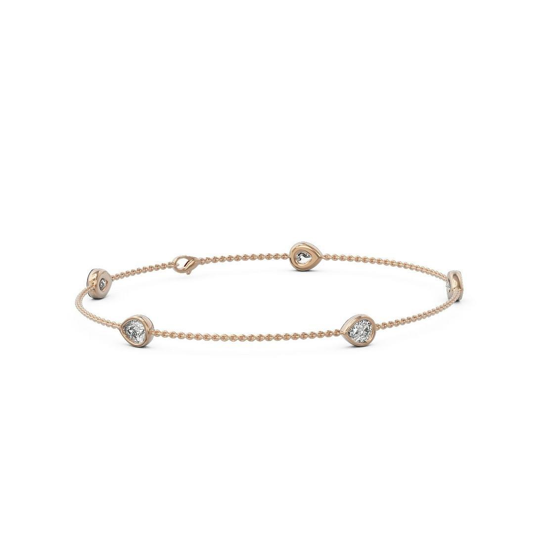1.65 ctw Pear Cut Diamond Station Bracelet 18K Rose