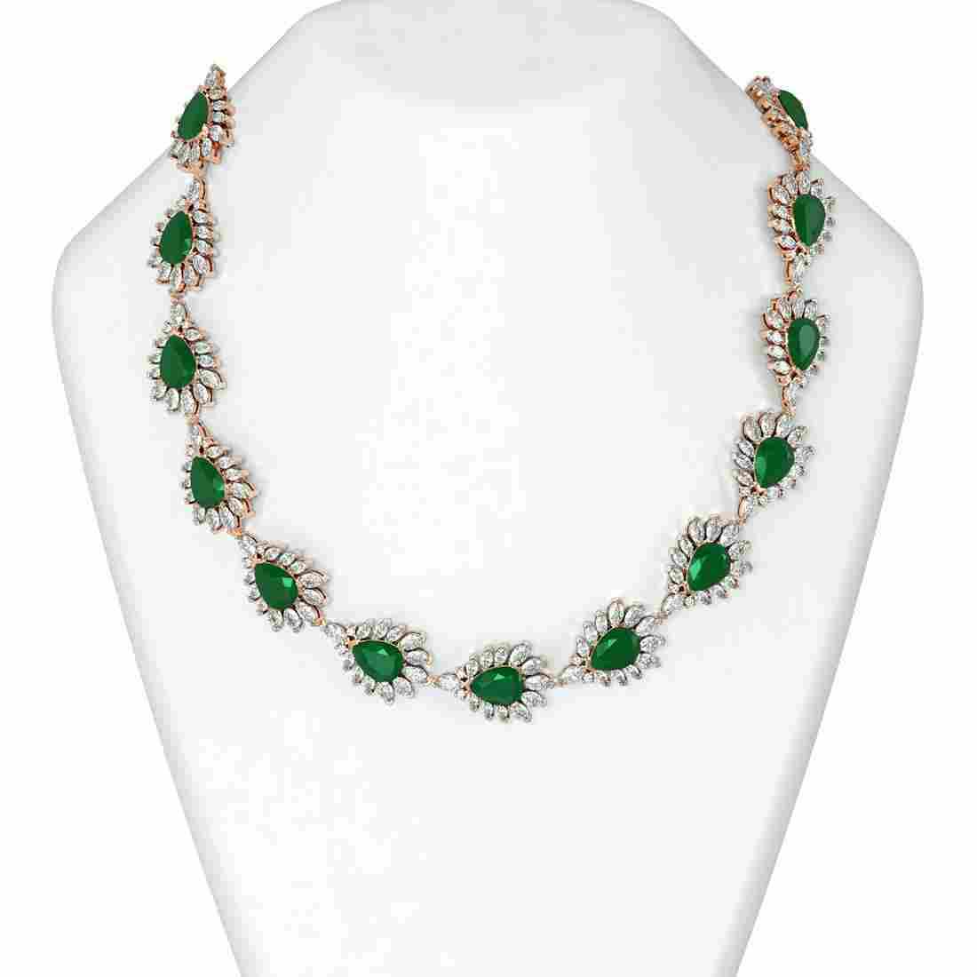 112.52 ctw Emerald & Diamond Necklace 18K Rose Gold -