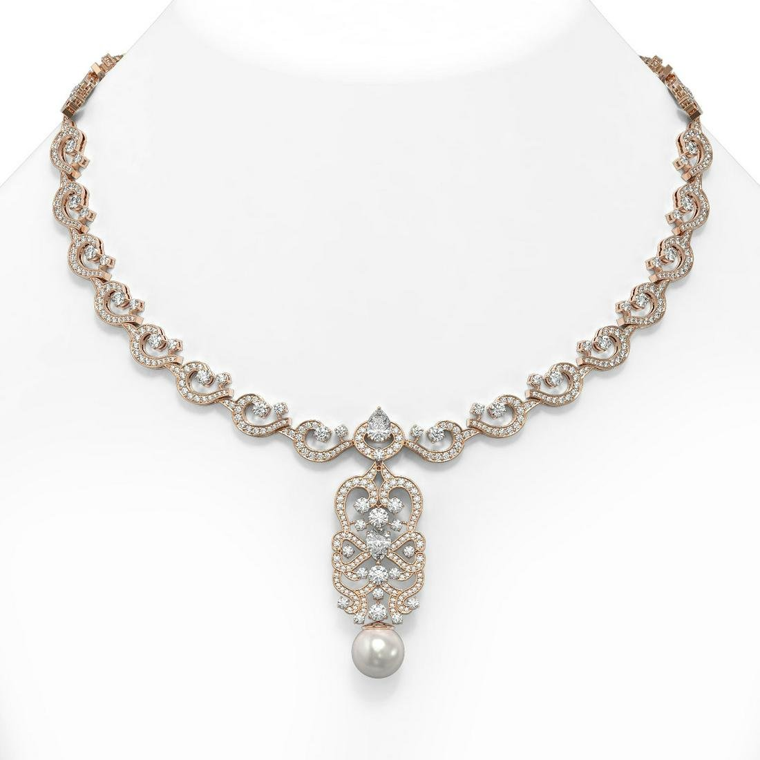 25 ctw Pear Cut Diamond & Pearl Necklace 18K Rose Gold