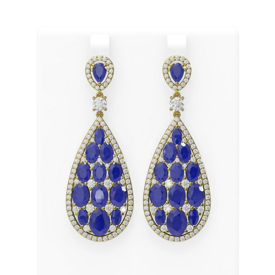 27.47 ctw Sapphire & Diamond Earrings 18K Yellow Gold -