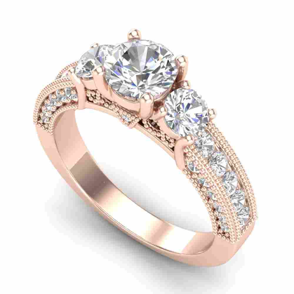 2.07 ctw VS/SI Diamond Solitaire Art Deco 3 Stone Ring