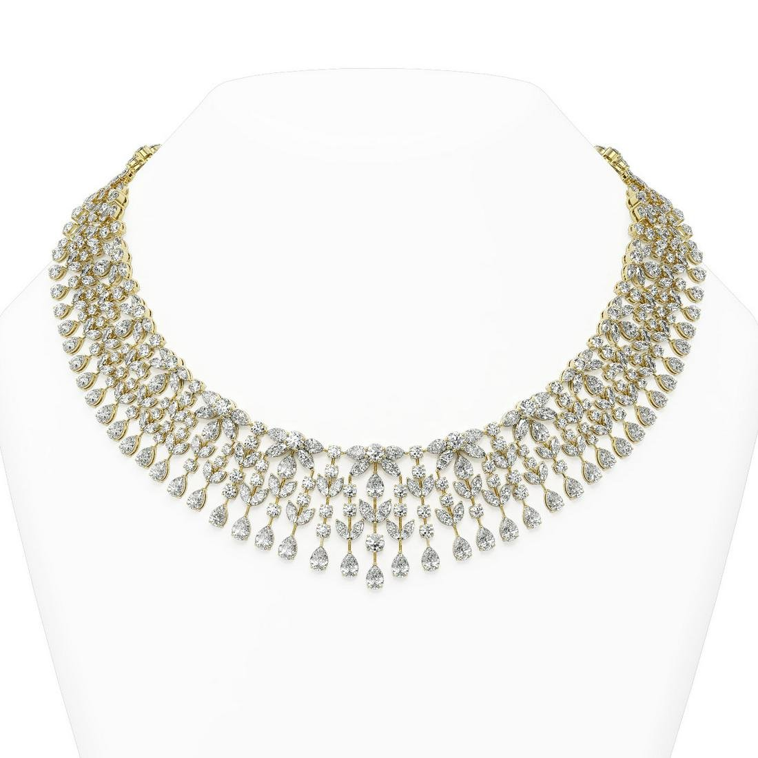 132 ctw Mixed Cut Diamond Designer Necklace 18K Yellow