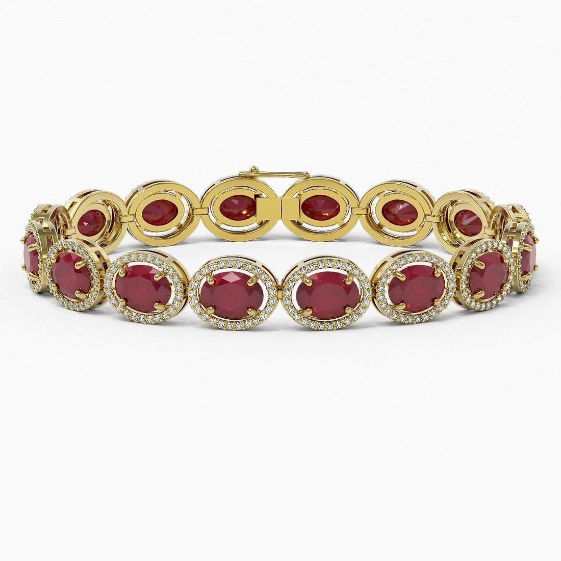 31.79 ctw Ruby & Diamond Micro Pave Halo Bracelet 10k