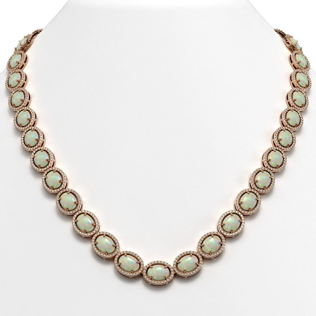 42.29 ctw Opal & Diamond Micro Pave Halo Necklace 10k