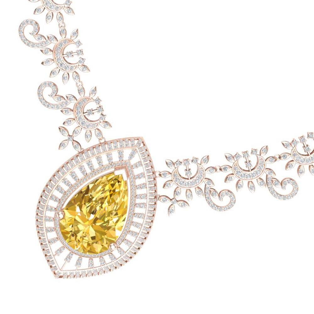 53.17 ctw Canary Citrine & VS Diamond Necklace 18K Rose