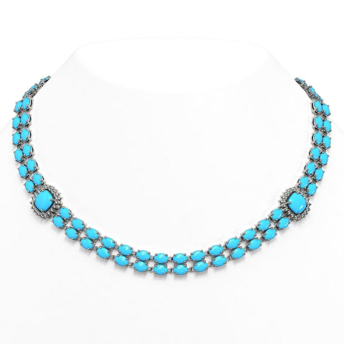 53.53 ctw Turquoise & Diamond Necklace 14K White Gold -