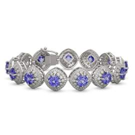 38.1 ctw Tanzanite & Diamond Victorian Bracelet 14K