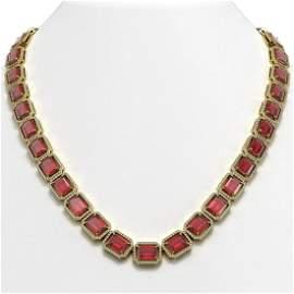 80.32 ctw Tourmaline & Diamond Micro Pave Halo Necklace