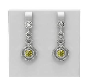 3.55 ctw Fancy Yellow Diamond Earrings 18K White Gold -