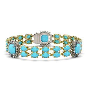30.85 ctw Turquoise & Diamond Bracelet 14K Yellow Gold