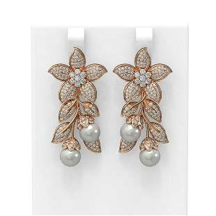 3.05 ctw Diamond & Pearl Earrings 18K Rose Gold -
