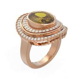 7.16 ctw Canary Citrine & Diamond Ring 18K Rose Gold -