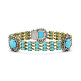 29.32 ctw Turquoise & Diamond Bracelet 14K Yellow Gold