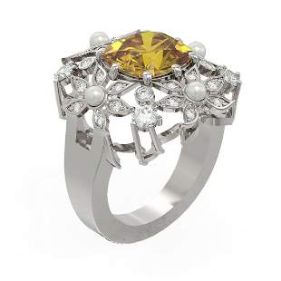 6.96 ctw Canary Citrine & Diamond Ring 18K White Gold -