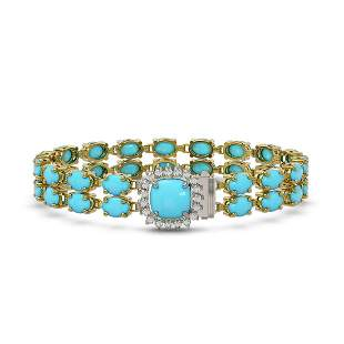 23.28 ctw Turquoise & Diamond Bracelet 14K Yellow Gold
