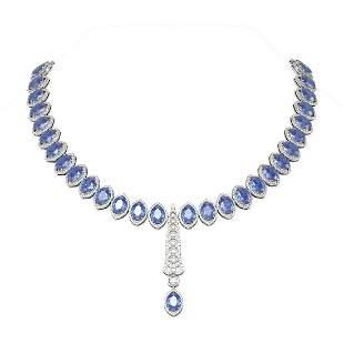 124.35 ctw Tanzanite & Diamond Necklace 18K White Gold