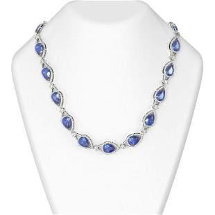 68.5 ctw Tanzanite & Diamond Necklace 18K White Gold -