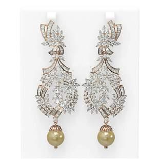 20.56 ctw Diamond & Pearl Earrings 18K Rose Gold -