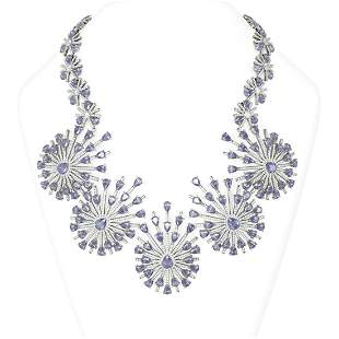 114.73 ctw Tanzanite & Diamond Necklace 18K White Gold