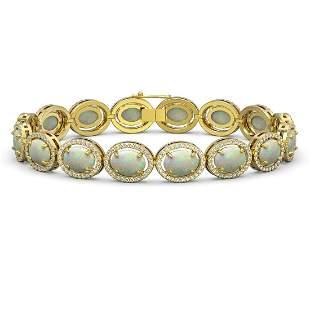 18.33 ctw Opal & Diamond Micro Pave Halo Bracelet 10k