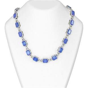 97.33 ctw Tanzanite & Diamond Necklace 18K White Gold -