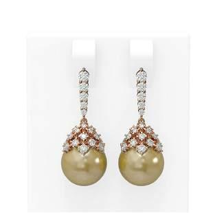2 ctw Diamond & Pearl Earrings 18K Rose Gold -