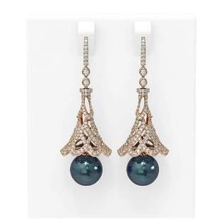 4.33 ctw Diamond & Pearl Earrings 18K Rose Gold -