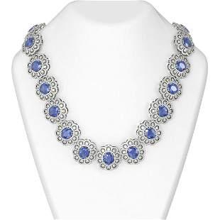 115.28 ctw Tanzanite & Diamond Necklace 18K White Gold