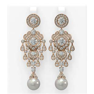 9.4 ctw Diamond & Pearl Earrings 18K Rose Gold -