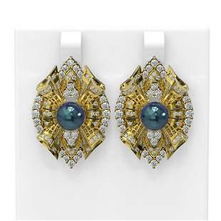 3 ctw Diamond & Pearl Earrings 18K Yellow Gold -