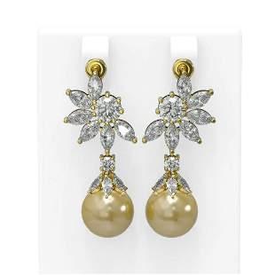 7.42 ctw Diamond & Pearl Earrings 18K Yellow Gold -