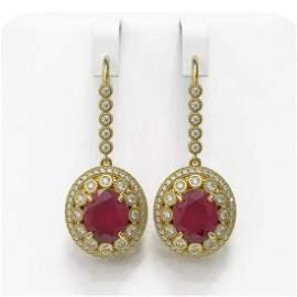17.22 ctw Certified Ruby & Diamond Victorian Earrings
