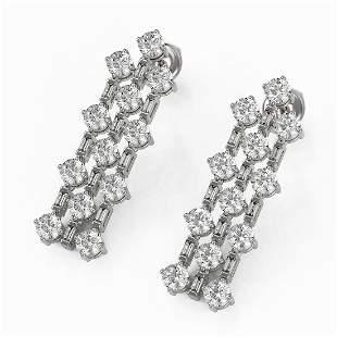 3.62 ctw Diamond Designer Earrings 18K White Gold -