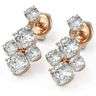 3.7 ctw Cushion Cut Diamond Designer Earrings 18K Rose