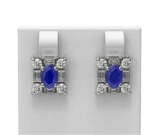 3.83 ctw Sapphire & Diamond Earrings 18K White Gold -