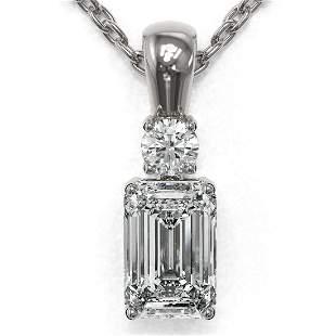 0.6 ctw Emerald Cut Diamond Designer Necklace 18K White