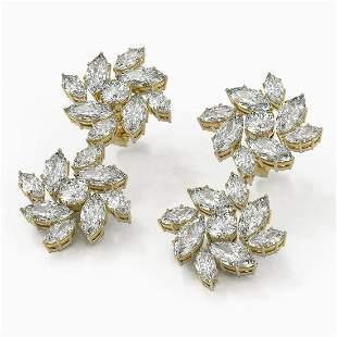 9 ctw Marquise Diamond Designer Earrings 18K Yellow