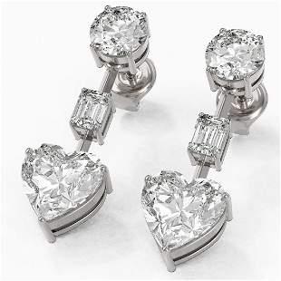 5 ctw Heart Diamond Designer Earrings 18K White Gold -