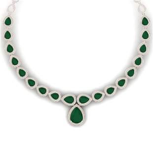 51.41 ctw Emerald & VS Diamond Necklace 18K Rose Gold -
