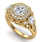 211 ctw VSSI Diamond Solitaire Art Deco 3 Stone Ring