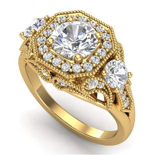 2.11 ctw VS/SI Diamond Solitaire Art Deco 3 Stone Ring