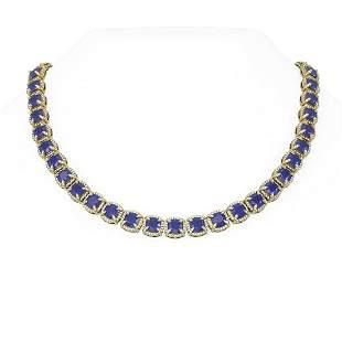 79.07 ctw Sapphire & Diamond Necklace 18K Yellow Gold -
