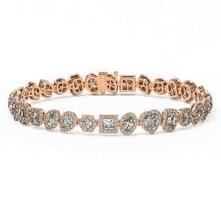 13 ctw Mix Cut Diamonds Designer Bracelet 18K Rose Gold